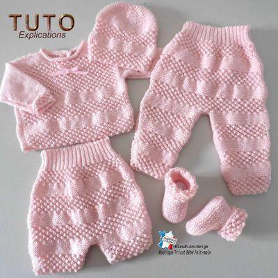 Fiche tricot bébé, explications tricot layette bb, tuto