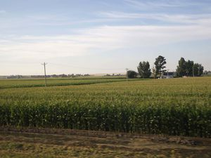 The California Zephyr Train and the plains of Illinois and Iowa