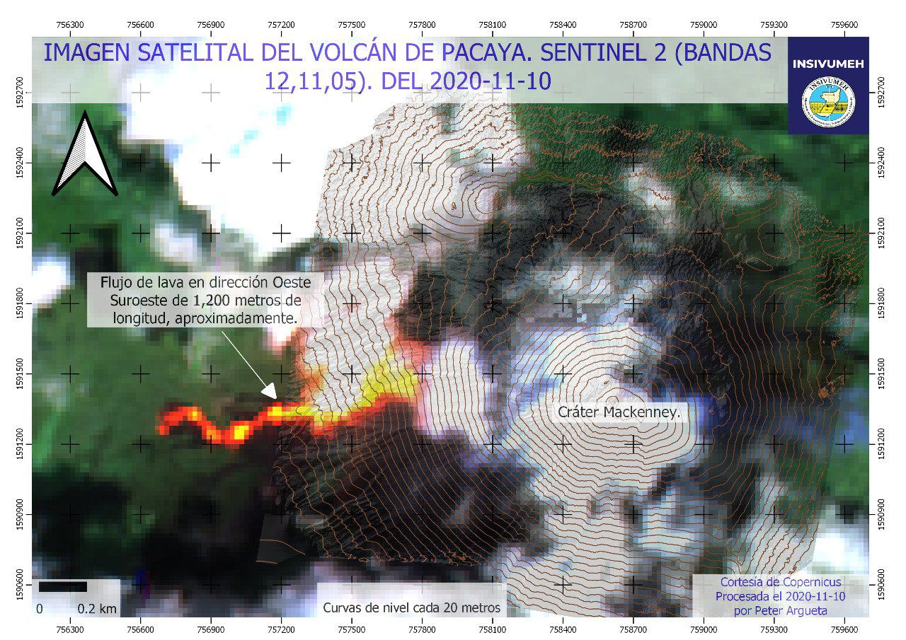 Pacaya - 10.11.2020 WSW lava flow over 1200m - Sentinel image 2 bands 12,11,5 / Insivumeh