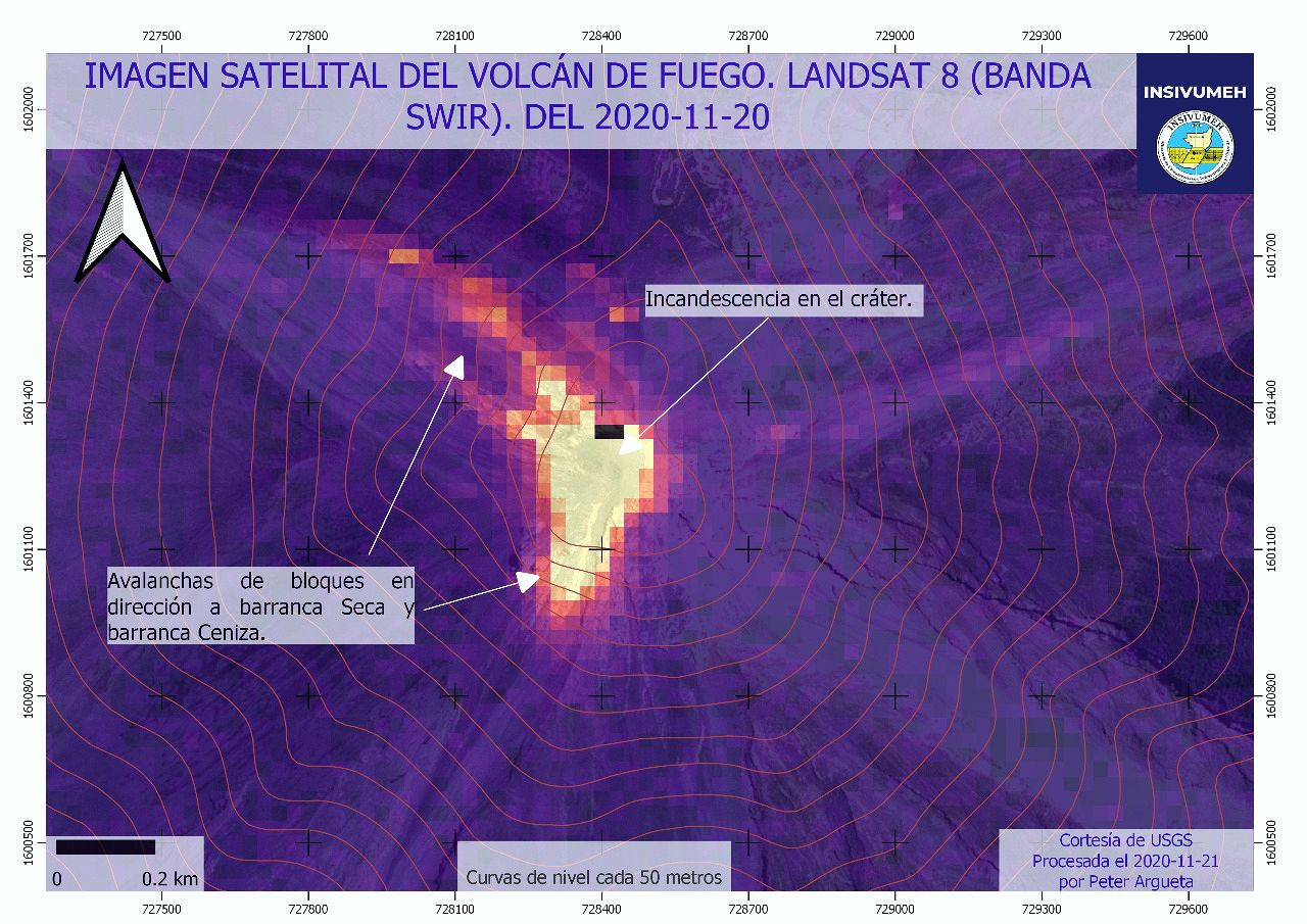 Fuego - summit glow and blocks falls in the Seca and Ceniza barrancas - Landsat-8 Image 20.11.2020 / Insivumeh