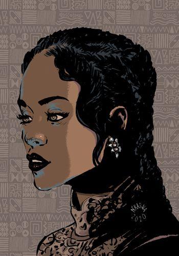 Rihanna dessin illustration art chanteuse soul blues rythm blues digitalart