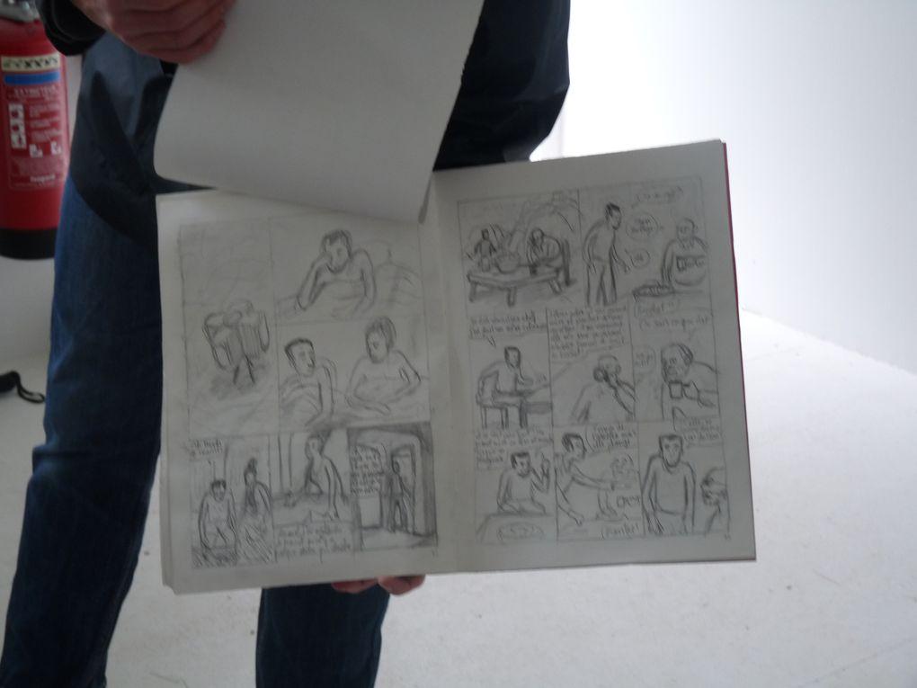 """les planches originales de """"Jardins dessinés"""" et celles de """"Jardin d'hiver"""", publié aux éditions Sarbacane étaient affichées dans l'atelier de LO-enzo"""