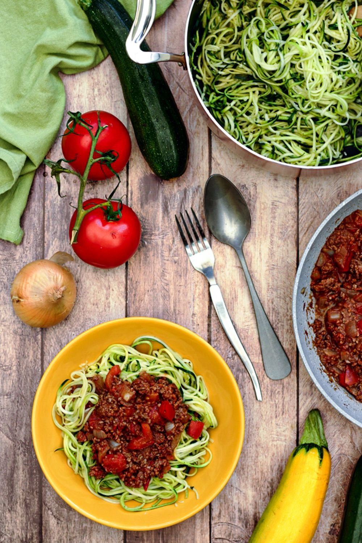 spaghetti courgette bolognaise
