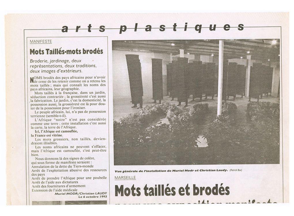 Nord - Sud. mots taillés mots brodés. 1994