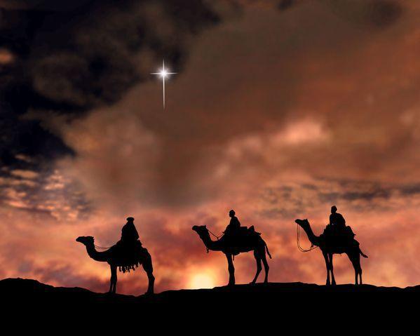 les mages venus d'Orient suivent l'étoile