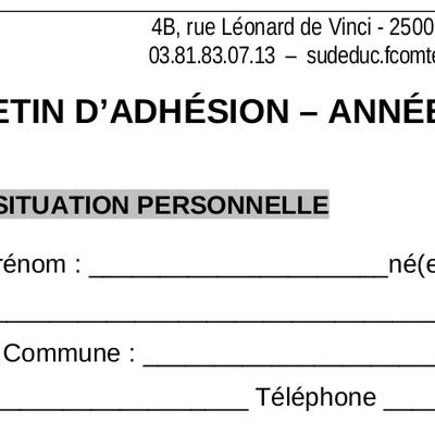 Bulletin d'adhésion 2021-2022