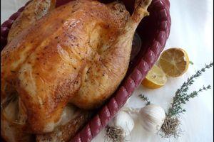 Poulet rôti au citron, ail & thym
