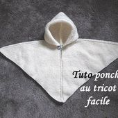 TUTO PONCHO A CAPUCHE AU TRICOT FACILE