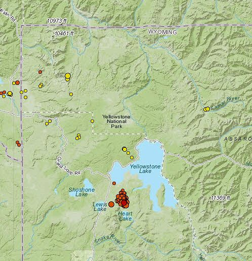 2020.09.11 Yellowstone- earthquake swarm that occurred on September 10 between Heart Lake and West Pouce - Doc. USGS volcanoes