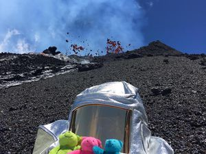 Piton de La Fournaise - 13.02.2020 - the little cuddly toys accompanied the team from the Piton de la Fournaise observatory - OVPF / Facebook photos - one click to enlarge
