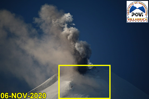 Villarica - 06.11.2020 - Hot gases and glowing material from the morning explosion spread over the route usually taken to climb to the crater - Doc. POVI