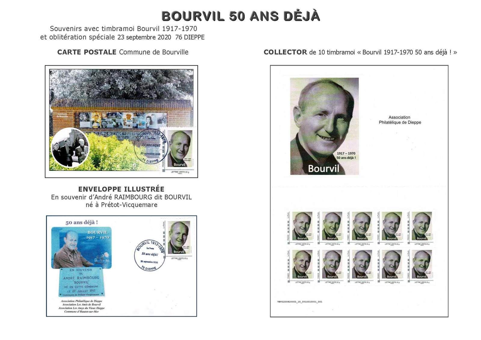 """Programme philatélique 2020 BOURVIL  """"urgent"""""""