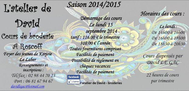 L'atelier de David - Cours de broderie Roscoff Saison 2014 / 2015
