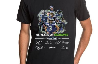 ice 45 years of Seattle Seahawks 1974-2019 signatures shirt
