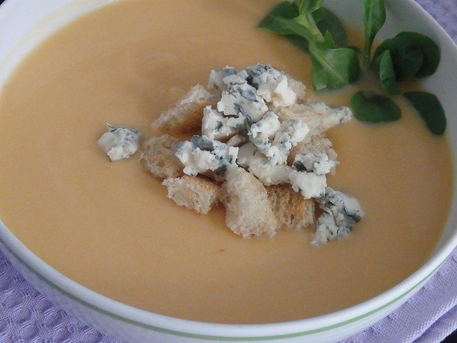 Velouté de patates douces aux poires et au bleu d'Auvergne
