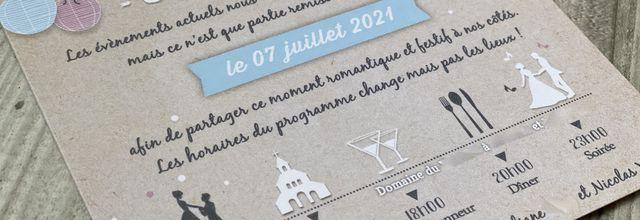 Carton report mariage (covid) : le faire part de Liliane & Nicolas ... festif et guinguette