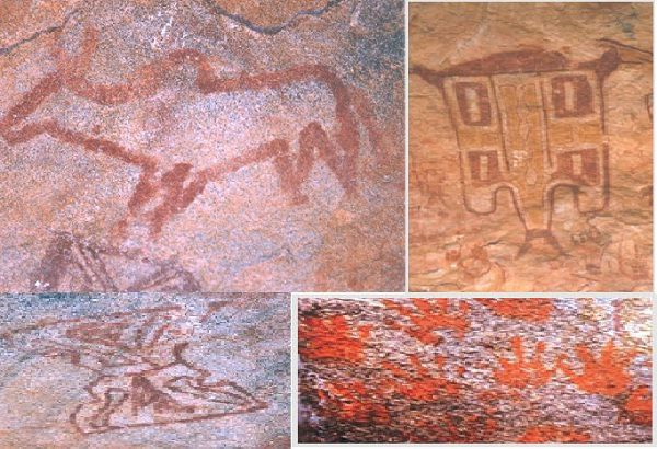 Murelgarh Rock Paintings ........... Chitwa Dongri: have distinct Chinese influence with depiction of a Chinese figure over a donkey, dragons and agricultural activities. .............