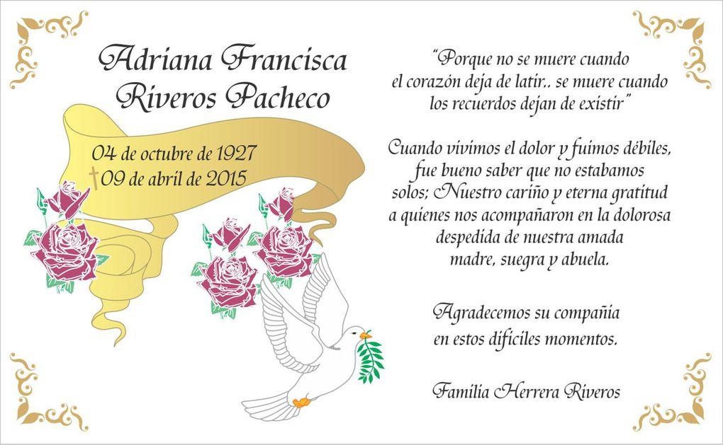 Diseños de Tarjetas de Agradecimiento de Condolencia, Defunción, Pésame, Formato Postal - Whatsapp +56985772933 - +56930601037