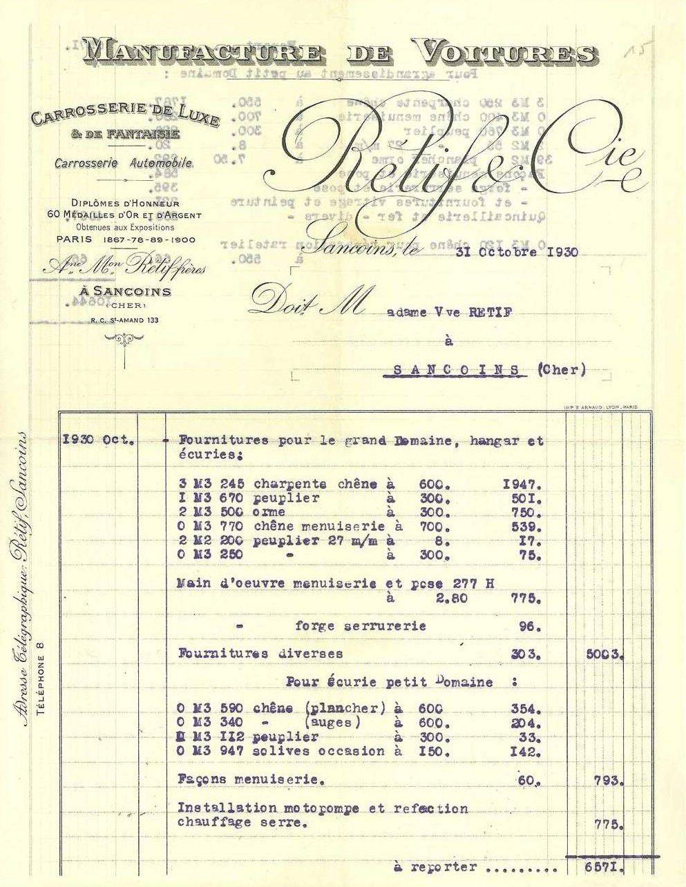 Une facture en 1930 : « Carrosserie de luxe et fantaisie, automobile »… mais aussi charpente de hangar, serrurerie, plancher!
