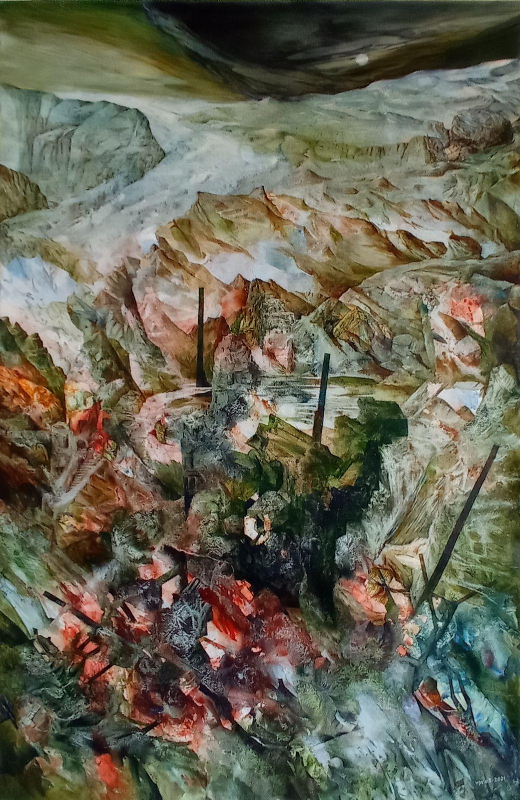 Ile de Pré Britenne - Vue n°2149 - 2021 - Acrylique sur toile (kakemono) 80 x 120 cm