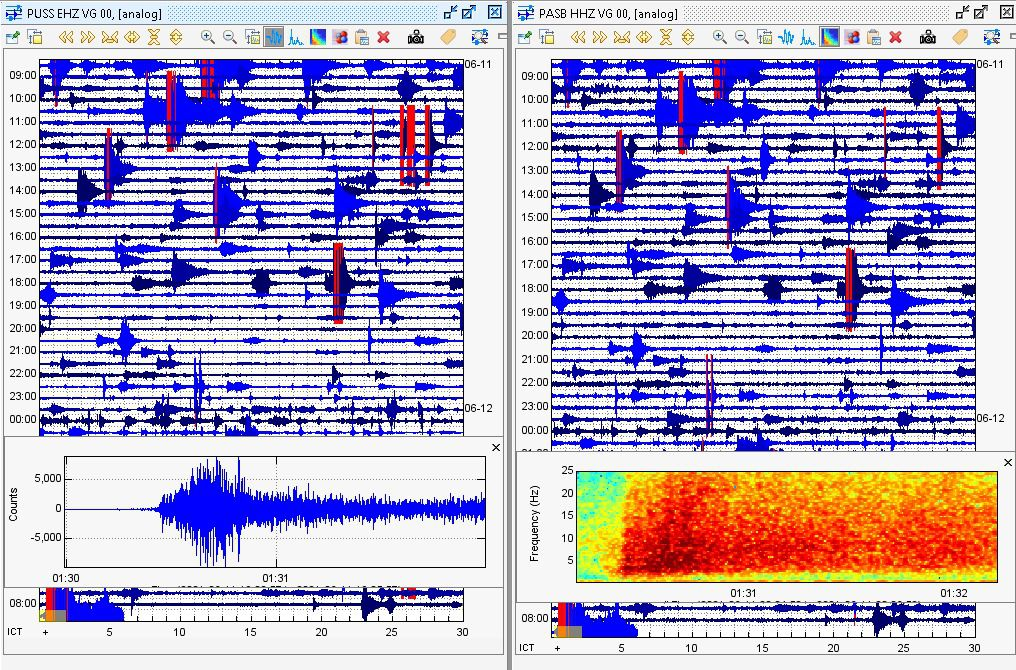 Merapi - seismicity for the week on 06.11.2021 (above) & seismograms for 06.12.2021 (below) - Doc. BPPTKG