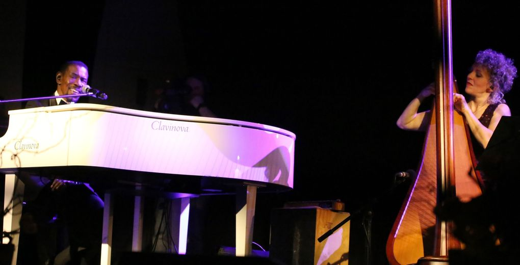 """Leisere Töne erklangen dann bei dem durch Louis Armstrong bekannt gewordenen """"What a wonderful world"""", das gesanglich Alfred McCrary und Anne Kox-Schindelin meisterlich interpretierten. Anne Kox-Schindelin, diplomierte Konzertharfenistin, ist eine unglaublich aussergewöhnliche und ausgesprochen vielseitige Musikerin, die ihr Instrument wie ein kleines Orchester sieht - von zarten, harfentypischen Sphärenklängen bis zum klangvollen Tutti, das sie facettenreich den 47 Saiten ihrer Harfe entlockt. Ihre Kreativität zeigt sich dabei besonders in ihren Arrangements und Eigenkompositionen."""