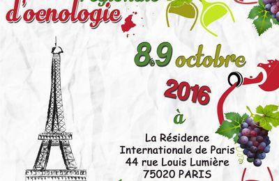 8 et 9 octobre 2016 : rencontre d'oenologie à Paris