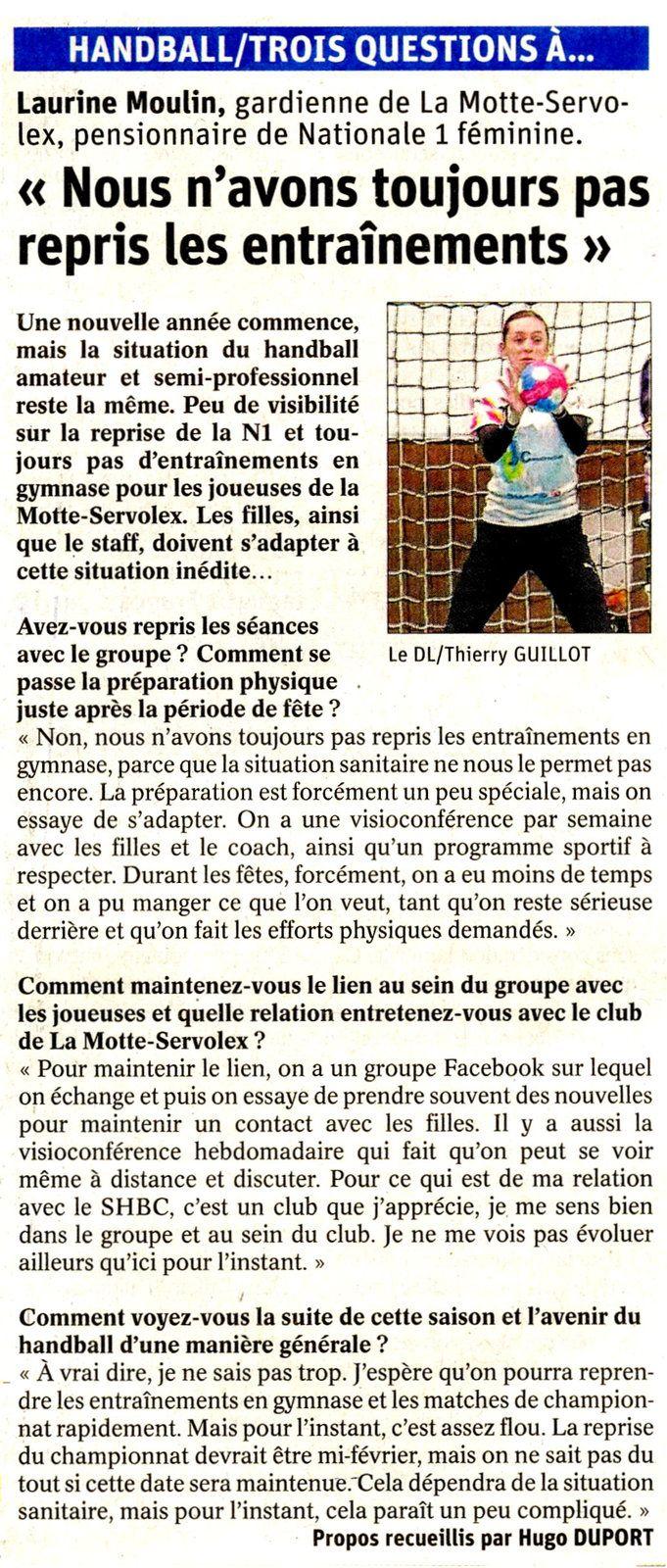 N1F Laurine Moulin parle de la crise sanitaire , pensionnaire du club de La MOTTE-SERVOLEX article du DL