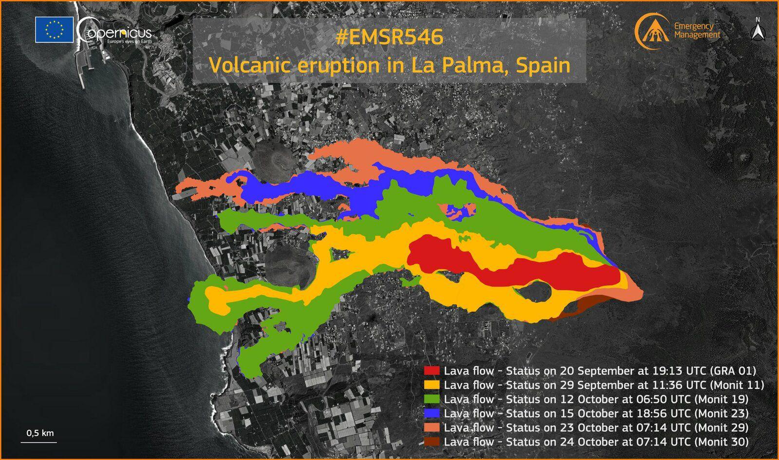 La Palma / Cumbre Vieja - sunk at 24.10.2021 / 07:14 UTC - Copericus EMSR - one click to enlarge