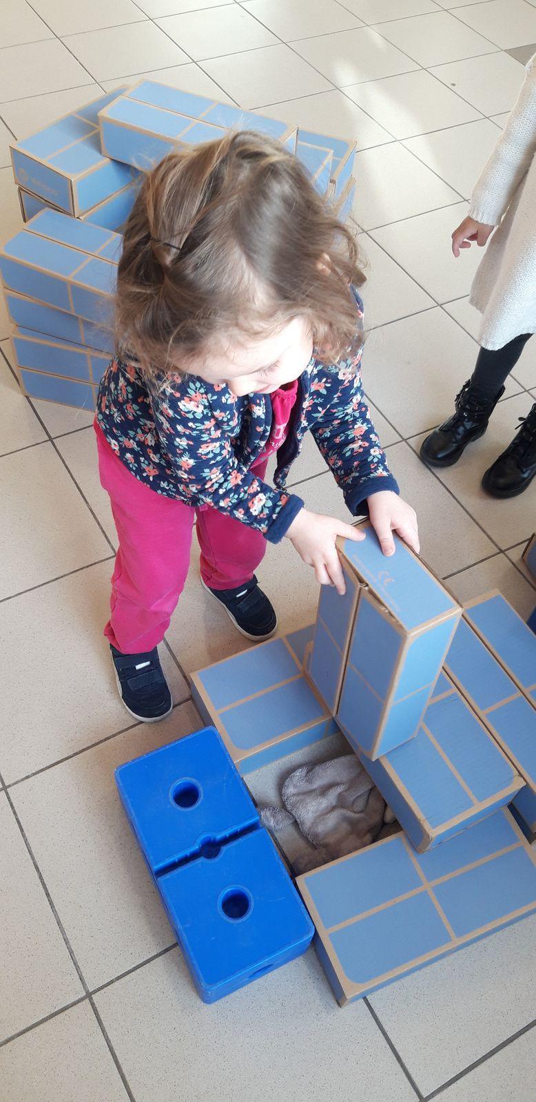 Tous niveaux, situations de recherche en groupe de GS avec les briques, comment bâtir une maison ? - Pour les PS avec les briques, comment cacher mon doudou sans l'étouffer ni l'écraser ? - Pour les MS, comment inventer des chorégraphies à partir des murs de briques ?