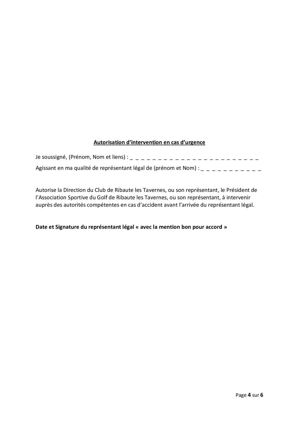 INSCRIPTIONS ECOLE DE GOLF 2021  2022