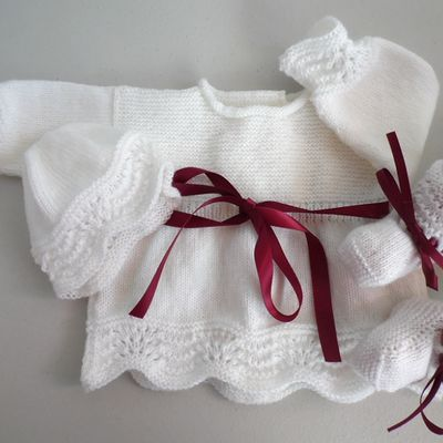 tricot bebe, brassiere bb fille, tricotee main