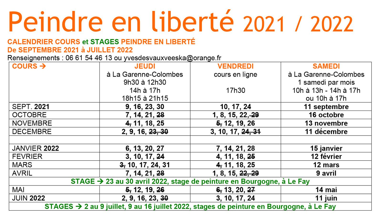 5. Calendrier cours et stages 2021 / 2022