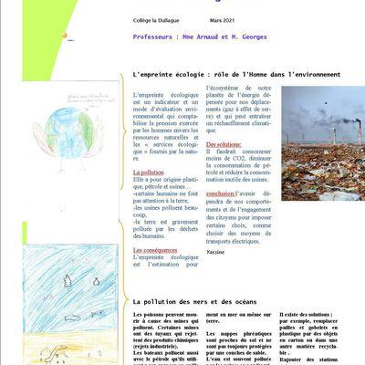 Journal de la classe citoyenne sur l'écologie