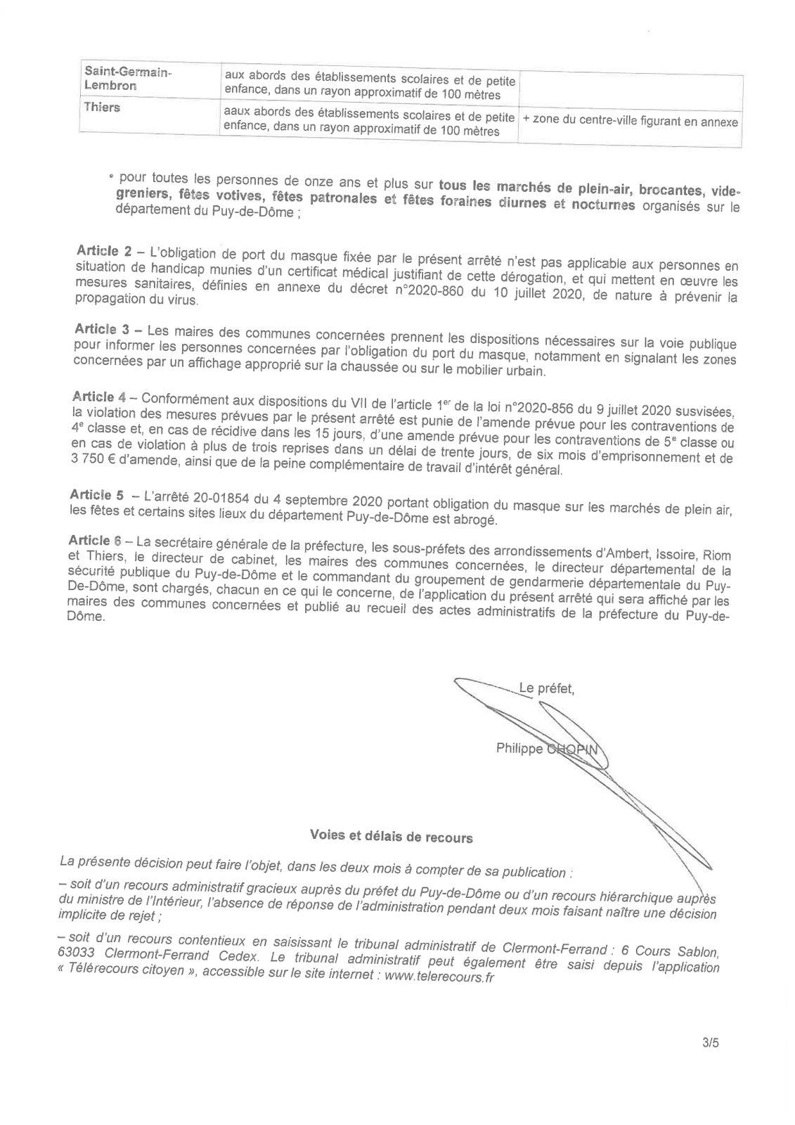 Arrêté pour le port du masque obligatoire dans certains lieux du département du Puy De Dôme
