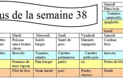 Planning menus semaine 38, idées de repas