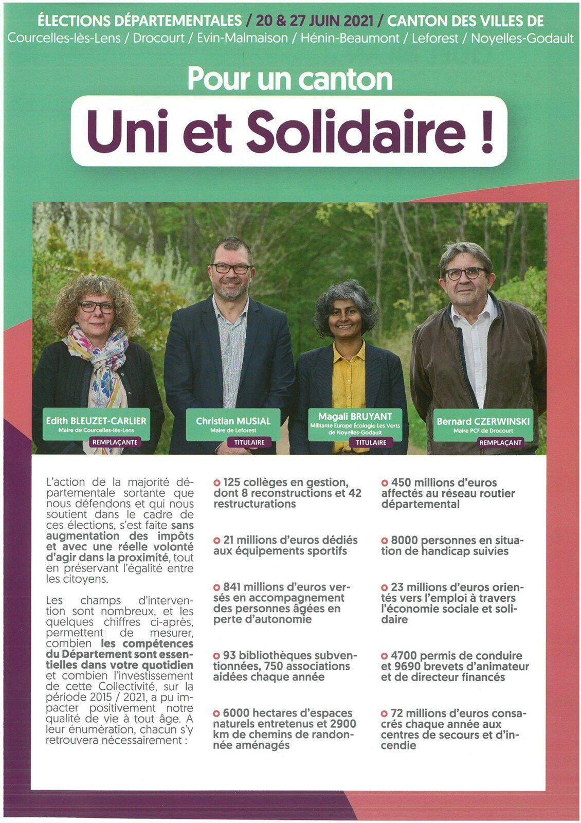 Elections départementales 2021 : le second tract de campagne des candidats du canton d'Hénin-Beaumont 2