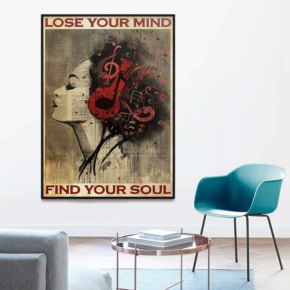 Girl Headphone Music Lose Your Mind Find Your Soul poster, canvas