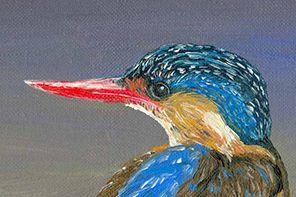 Peinture à l'huile : Le martin pêcheur.