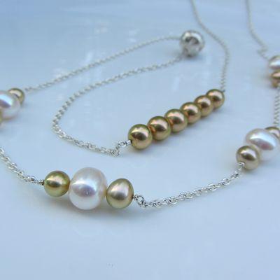Sautoir perles dorées