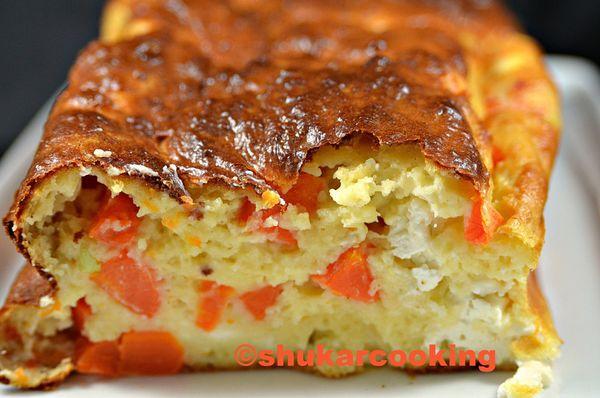 Cake à la pomme de terre, carotte et feta
