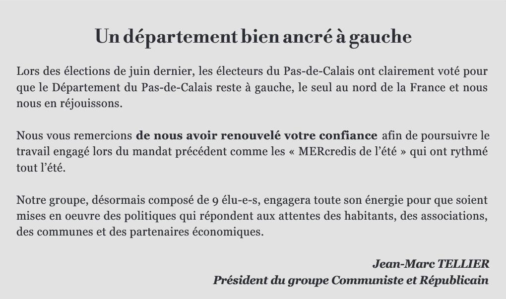 La tribune du groupe communiste au Conseil départemental du Pas-de-Calais (septembre 2021)