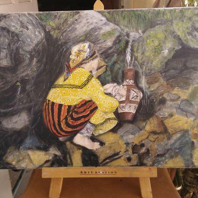 Femme kabyle à la fontaine