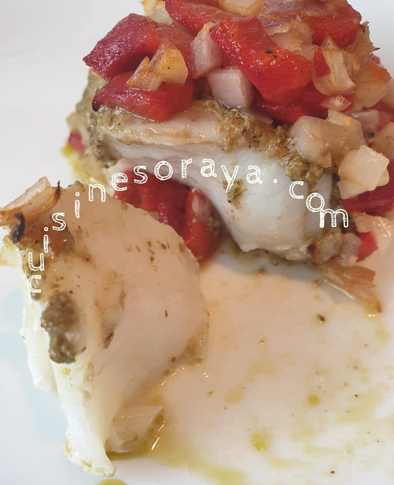 Filet de poisson au pesto et poivron grillé