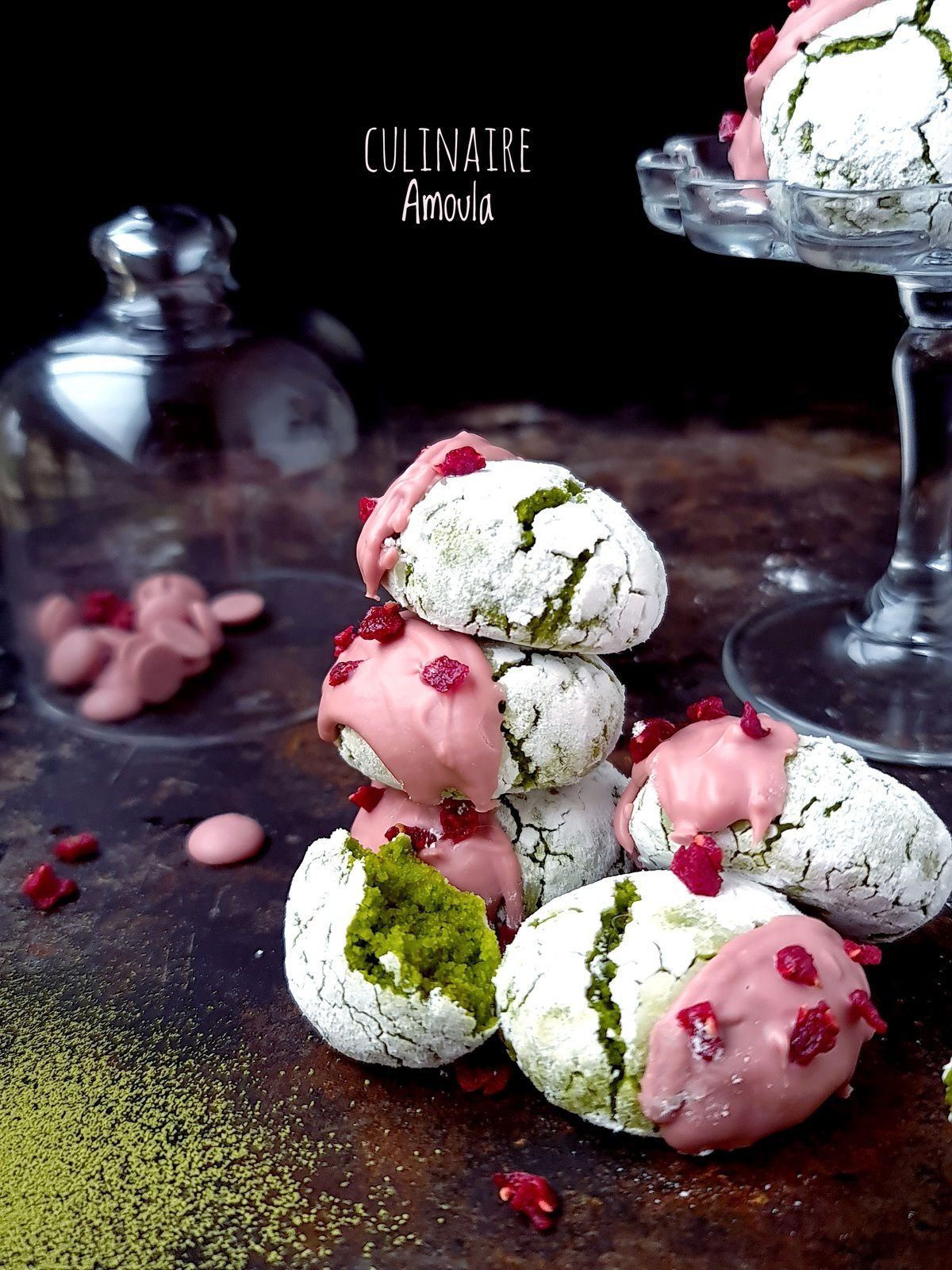 Amaretti moelleux thé matcha et chocolat Ruby