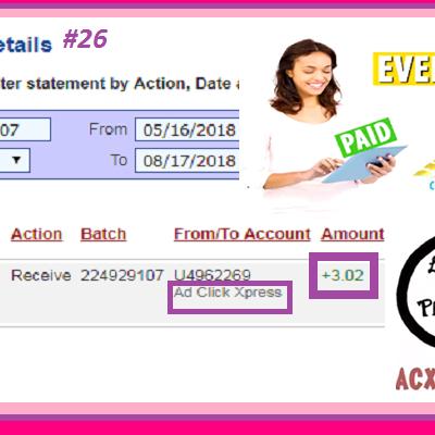 Ad Click Xpress Withdrawal Proof #26