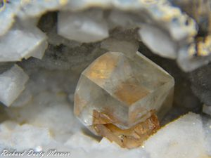 Calcite with Chabazite and Stellerite on Quartz Geode from Sawda Mine, Jalgaon, India (size: Cabinet)