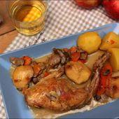 Lapin à la normande (cidre, pomme, crème fraîche et champignons) ~ Happy papilles