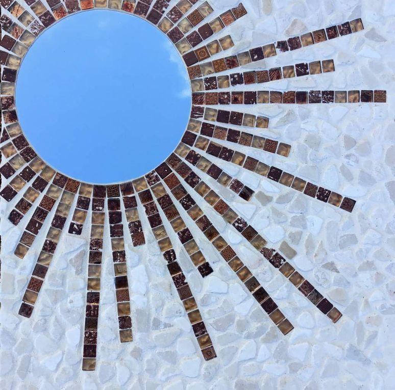 Miroir pierres et vetrocristal .45x45 cm.