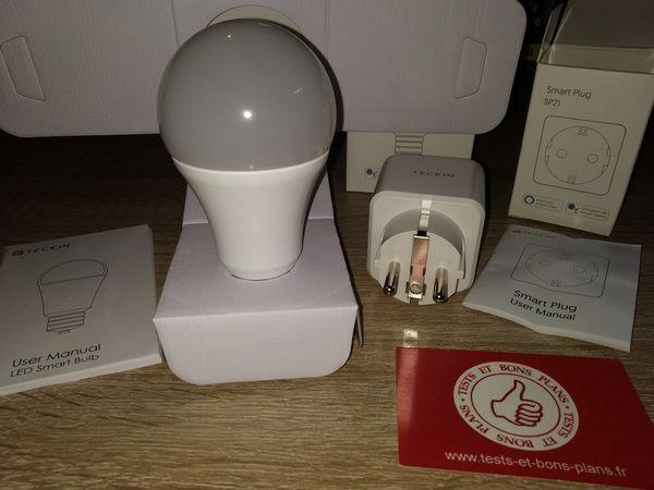 unboxing ampoule et prise connectées compatibles commande vocale TECKIN @ Tests et Bons Plans